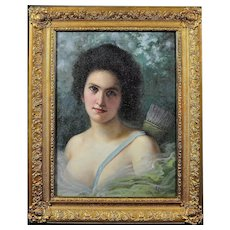 Diana, the Huntress. Manner of Seignac. Oil on Canvas. Framed.