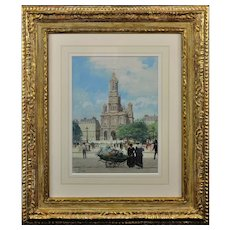 Victor Gabriel Gilbert 1847 - 1933.  French. L' Eglise de la Sainte-Trinite, Place de la Trinite, Paris. Gouache & Watercolor. Framed.