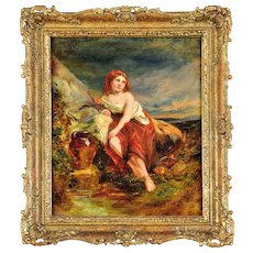 James Stephenson Craig fl.1854 - 1870 . Scottish. Water Maiden. Oil on Panel. Framed.
