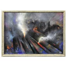 David Wilde 1913 - 1974.  English.  A study in smog, Victoria Station c.1960).  Acrylics. Framed.