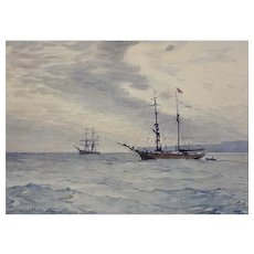 Charles William Adderton 1866 - 1944. English. Norwegian Barques At Anchor, Teignmouth And Shaldon, Devon. Watercolor. Framed.