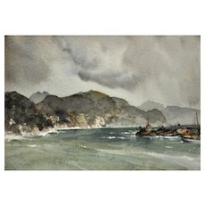 Sir William Russell Flint 1880 - 1969.  Scottish. Storm on the Liguarian coast, 1954, Santa Margherita, Italy. Watercolor. Framed.