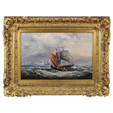 Ebenezer Colls 1812 - 1897. English. Landing the Pilot, off the Needles, Isle of Wight. Oil on Canvas. Framed.
