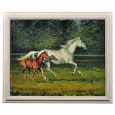 Neil Hawthorne b.1936. English. Mare with Foal, 1970. Oil on Canvas. Framed.