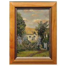 Joseph Milner Kite 1862 - 1946.  English. A Breton Cottage Garden. Oil on Panel. Framed.