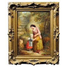 Henry Edrington Hobson 1820 - 1881.  English. Mother and Daughter at the Well, 1861. Oil on Panel. Framed.