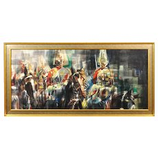 Eric Mason 1921 - 1986.  English. The Household Cavalry on Ceremonial Parade. Oil on Board. Framed.