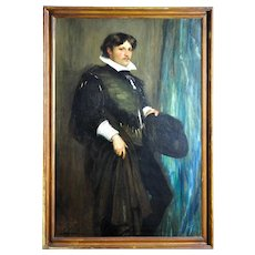 John Pettie.  Scottish 1839 - 1893. Portrait of Smith Taylor Whitehead Esq. in a Theatrical Costume of the 16th Century. 1887. Oil on Canvas. Framed.