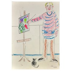 Jack Jones 1922 - 1993.  Welsh. Self Portrait with Easel & Cat, 1986. Pencil and Crayon on Paper. Framed.