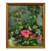 Diana Maxwell Armfield b.1920. English. Pink Primulas & Pot Plants. Still Life Flower Oil Painting. Modern British. Framed.