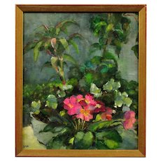 Diana Maxwell Armfield b.1920. English. Pink Primulas & Pot Plants. Still Life Flower Oil Painting. Modern British. Framed.
