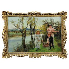 Alice Mary Havers 1850 - 1890.  English. Family Collecting Autumn Windfalls. Oil on Canvas. Framed.