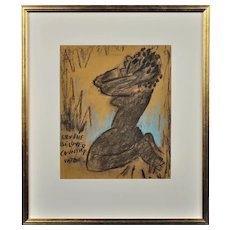 Josef Herman. 1911 - 2000. Polish - British. Cry the Beloved Country, Paton. Mixed Media. Framed.