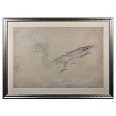 Brenda Chamberlain 1912 - 1971. Welsh. Sea Symphony, June 1966. Pencil on Paper. Framed.