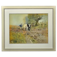 Oswald Garside 1879 - 1942.  English. Bullocks Ploughing, 1904. Watercolor. Framed.