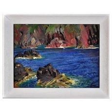 Raymond Sheppard 1913 - 1958.  English. St. Davids, Pembrokeshire, Wales. Oil on Board. Framed.
