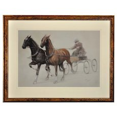 Cecil Charles Windsor Aldin 1870 - 1935. English. Trotting Horses Harnessed to a Lightweight Fly. Chalk on Paper. Framed