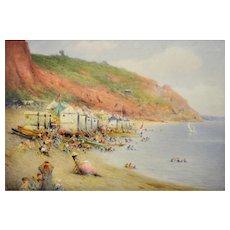 Harry E. James fl.1882 - 1912.  British. Bathing Machines on a Dorset Beach. Watercolor. Framed.