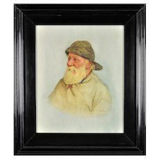 Frederick James McNamara Evans 1859 - 1929.  English. Portrait of a Newlyn Fisherman. Watercolor. Framed.
