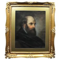 Antoine Pierre Charles Favart 1780 - 1867.  French. Half Portrait of a Russian Dignitary, 1846. Pastel on Vellum. Framed.
