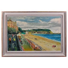 James Fitton 1899 - 1982.  English. Scarborough Promenade, Yorkshire. Oil on Board. Framed.