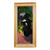 James Fitton 1899 - 1982.  English. Nun and Schoolgirl in the Rain. Oil on Board. Framed.