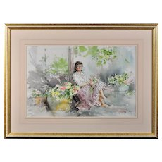 Gordon King b.1939.  English. Fond Memories. Watercolor. Framed