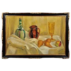 Jane Peterson 1876 - 1965.  American. Still Life of Fruit, Jug, Wine Bottle and Glass. Oil on Canvas. Framed.