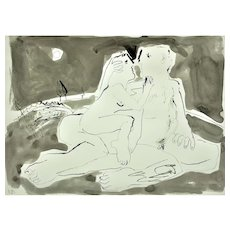 Keith Bayliss b.1954. Welsh. Moonlight Embrace. Color Wash and Ink. Signed. Framed.