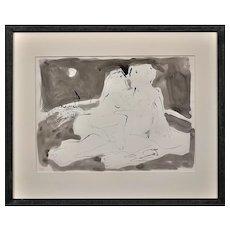 Keith Bayliss b.1954. Welsh. Moonlight Embrace. Color Wash and Ink. Signed. Framed.