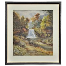 William Mellor 1851 - 1931.  English. Waterfall in an Upland Landscape. Watercolor. Framed.