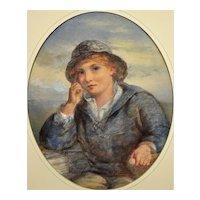 James Drummond 1816 - 1877.  Scottish. A Gentle Hand on the Tiller, 1870. Watercolor. Framed.