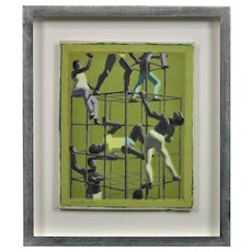 John Coverdale Newberry b.1934.  English. The Climbers, 1970. Oil on Canvas Board. Framed.