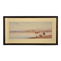 Edwin Lord Weeks 1849 - 1903.  American. River Nile Feluccas and Camels, Egypt. Watercolor. Framed.