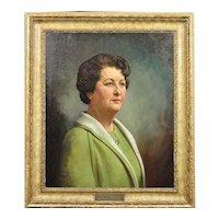 Howard Barron 1900 - 1991. English. Portrait of Katherine Merry nee Horstmann b.1914.- d.1973 Director of Horstmann Gear Company, 1946. Oil on Canvas.