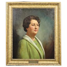 Howard Barron 1900 - 1991. English. Portrait of Katherine Merry nee Horstmann b.1914.- d.1973 Director of Horstmann Gear Company, 1946. Oil on Canvas.