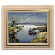 Rowland Hilder 1905 - 1993. British. River Bure, Norfolk. Oil on Board.