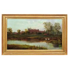 Robert Weir Allan 1852 - 1942. Scottish. Eton College and Chapel from the Banks of the River Thames. Oil on Canvas. Framed.