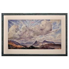 Dame Laura Knight 1877 - 1970. English. Autumn Skies. The Malvern Hills. Signed. Watercolour. Framed.