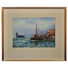 Frederick William Scarbrough 1860 - 1939. English. Visiting Fife Fishing Boat in Whitby Harbour. Watercolour. Framed.