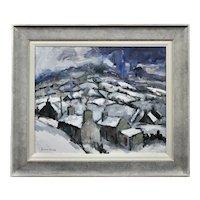 Gareth Parry b.1951.  Welsh. Gaeaf, Cymru (Winter, Wales). Oil on Canvas. Framed.