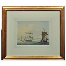 Lt. Thomas Yates RN c.1760 – 1796. English. Frigates in a Calm off Dover with a View of the Town and Pierheads. Watercolour. Framed.