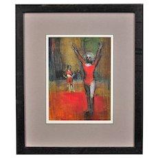 Robert King b.1936.  English. Gymnast. Dancer. Pastel. Framed.