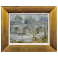Anthony Morris b.1938.  English. Llangynidr Bridge over the River Usk, Wales in Winter. Oil on Board. Framed.