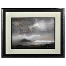 William Selwyn b.1933.  Welsh. Swnt Enlli – Bardsey Sound. Watercolor. Framed.