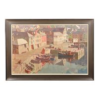 Gyrth Russell 1892 - 1970.  Canadian. Before the Hot Day Brightens to Blue (Mevagissey Harbour, Cornwall). Oil on Canvas. Framed.
