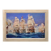 Charles Edward Dixon 1872 - 1934. English. Battle of Trafalgar. Watercolour & Gouache. 1905. Framed.
