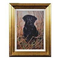 John Trickett b.1952.  English. Black Labrador. Oil on Board. Framed.