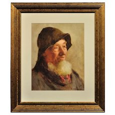 Frederick James McNamara Evans 1859 - 1929. English. Portrait of a Cornish Fisherman. Watercolor. Framed.