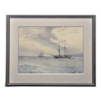 Charles William Adderton 1866 - 1944. English. Norwegian Barques At Anchor, Lyme Bay, Devon and Dorset. Watercolor. Framed.